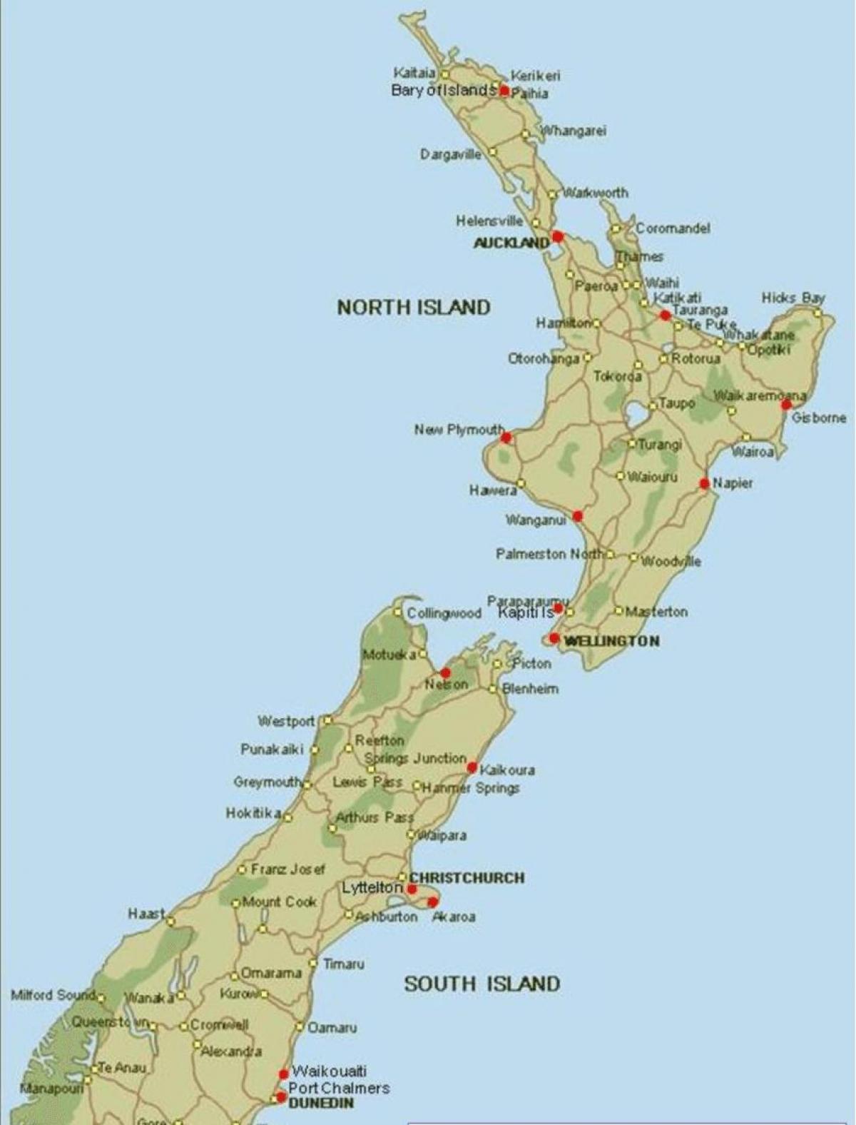 Noua Zeelandă Porturi Hartă Harta Noua Zeelandă Porturi